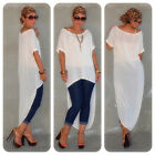 Women Ladies Sexy Summer Chiffon Long Loose Blouses Tailed T-shirt Casual Tops