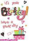 IT'S YOUR BIRTHDAY! CARD GLITTER PRESENT HEARTS PRETTY HIGH QUALITY FREE POST