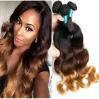 4bundle Brazilian Virgin Ombre Body Wave Human Hair Extension 200g UK #1b/4/27