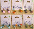 Viva Beads Handmade Clay Three Bead Cluster Earrings New NWT