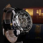 Luxury Mens Leather Strap Skeleton Transparent Mechanical Casual Wrist Watch