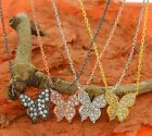 Butterfly Pendant with Cz Stones Necklace-Sterling Silver- Gift Idea !!!