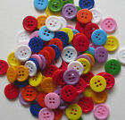 15MM COLOURED RESIN 4-HOLE ROUND BUTTONS CRAFT SEWING SCRAPBOOK - VAR QTY