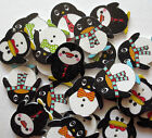 WOODEN PENGUIN 2 HOLE BUTTONS/MIXED COL/CRAFT/SEWING APPROX 25MM/QTY 10, 20 & 50