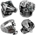 PUNK Mens Skull Bones Claw Cross Crucifix Stainless Steel Crystal Gems Band Ring