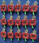10/20/50P Bulk Lots Remembrance Day Crystal Poppy Brooch Pins Broach Badge Gifts