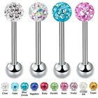 Epoxy Coated Multi Crystal Ferido Disco Gem Ball Tongue Nipple Bar - 4 Lengths