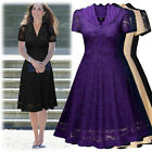 Women Vintage Cocktail Evening Party Casual Floral Lace Pleated A-Line Dresses
