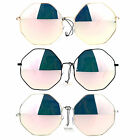SA106 Pink Revo Mirror Lens Octagon Metal Oversize Womens Sunglasses