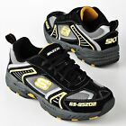 Skechers Boys Athletic Shoes mirth blacks leather fabric laces kids size 11 NEW
