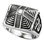 Men's Ring Pyramid Shape With Diamond Stainless Steel Black Jewelry Size US 8-13