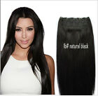 1b# off black Full Head 1pc 5 Clips In 100% Human Indian Remy Hair Extensions
