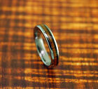 Tungsten Carbide Wedding Band with Koa Wood Inlay 4mm-Wood ring,Promise Ring.