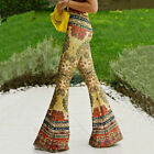 New Women Retro Printed Skinny Leggings Stretchy Jegg Large Flared PantsTrousers