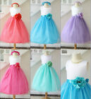 87sweetgirl Lovely White coral fuchsia turquoise mint flower girl party dress