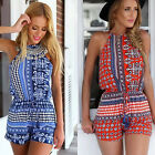 Women's Sexy Floral Printed Sleeveless Backless Casual Best Short Jumpsuit