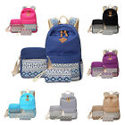 3x Teenagers Girls Travel Vintage Canvas Rucksack Backpack School Shoulder Bag