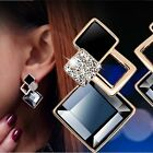 1 Pair Elegant Women Fashion Rhinestone Ear Stud Dangle Earrings Crystal Chain