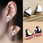Fashion Women Lady Heart Silver/Rose Gold Plated Charm Ear Stud Wedding Earrings
