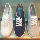 BN Womens Comfort Casual Walking Lace Up Canvas Flats Shoes WHITE GREY BLUE