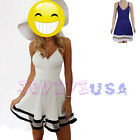 2016 Womens Summer Deep V-Neck Sleeveless Chiffon Beach Mini Dress