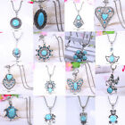 Vintage Cute Turquoise Crystal Beads Pendants Sweater Shirt Chain Necklace Gift