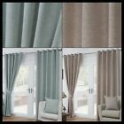 Pablo Woven Ready Made Curtains Fully Lined Heavy Eyelets Ring Top Pair