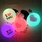5PCS 12inch Colorful Light Up Glowing Led Latex Balloons I LOVE YOU Party Decor