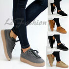 New Womens Chunky Platform Suede Lace Up Creepers Trainers Plimsolls Shoes