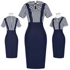 Women Sexy 50s 60s Retro Vintage Bodycon Wear To Work Office Casual Pencil Dress