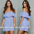 Lady Clubwear Off Shoulder Party Dresses Mini Skirt Summer Beach Blue Mini Dress