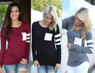 Women's Ladies Casual Crochet Pullover Long Sleeve Loose Tops T-Shirt Blouses