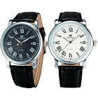 New Fahsion Success Men Cool Black Leather Strap Automatic Mechanical Watch A