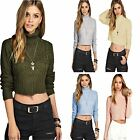 New Ladies Womens Girl Casual Wear Turtle Neck Styish Cable Crop Jumper Top 8-14