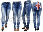 WOMENS LADIES DENIM JEANS FADED DIAMANTE SEXY SLIM FIT SKINNY SIZES 6 TO 18 *03