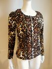 NWT Zip Front LEOPARD SWEATER brown black CARDIGAN Stretch Long Sleeve TOP SHIRT