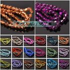New Half Plated Bicone Faceted Crystal Glass Loose Spacer Beads 3mm 4mm 6mm