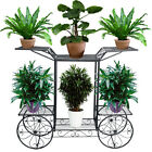 4-Wheeler Metal Flower Rack Display Plant Stand with 6 Pots Holder Home&Garden