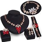 Women Gold Plated Crystal Necklace Ring Earrings Wedding Luxury Jewelry Set
