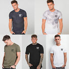 Mens 11 Degrees Short Sleeve T Shirt Designer Poly Cotton Dropped Rear Hem Tee