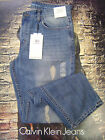 CALVIN KLEIN MEN'S SLIM STRAIGHT FIT LOW RISE DESTRUCTED JEANS ESSENTIAL BLUE