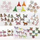 50/250pcs Nice Mixed Color Animal XMAS Charms Wood Buttons Jewelry Findings J