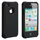 Hybrid Plastic Silicone Dual Layer Protective Hard Case Cover for iPhone 4S/4