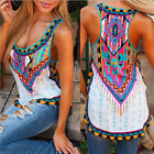 Women's Aztec Print Long Racerback Tank Tops Sleeveless Vest T-shirt