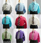 Boy's long sleeve color dress shirt with tie teen toddler formal party all size