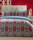ETHNIC DUVET COVER BED SETS Moroccan tile quilt covers bright blues reds & grey