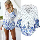 Awesome Womens Bohemia Printing Long Sleeve Playsuit Rompers Jumpsuits Trousers