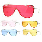 SA106 80s Disco Bright Color Lens Rimless Shield Retro Sunglasses