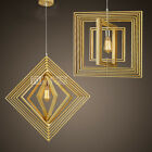 Nordic LED Wood Ceiling Lamp Droplight Chandelier Geometry Bar Loft Decor Cafe