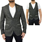 Mens Marc Darcy Tweed Wool Blazer Waistcoat Designer Formal Casual Dinner Jacket